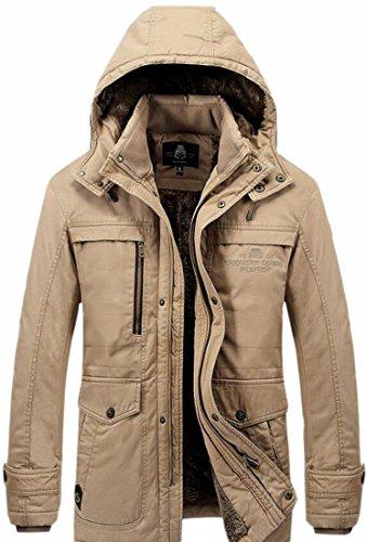 UK Lined Coat Outwear Parka Loose Fleece Jacket Men Winter today Hooded Khaki TId6fqI