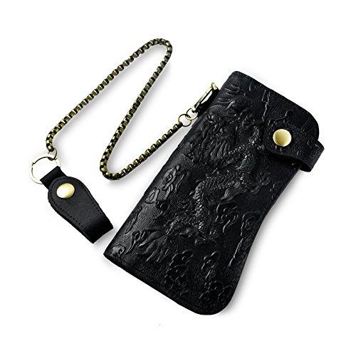 Black Dragon Wallet - Le'aokuu Mens Genuine Leather Bifold Wallet Organizer Checkbook Iron Chain (1088 The Dragon Black)