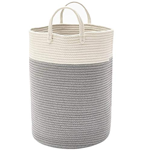 DOKEHOM X-Large Storage Baskets -15.7 Inches(D) x 19.7 Inches(H)- Cotton Rope Basket Woven Baby Laundry Basket with Handle for Diaper Toy Cute Neutral Home Decor (White/Grey, L) (Laundry Grey Rattan Basket)