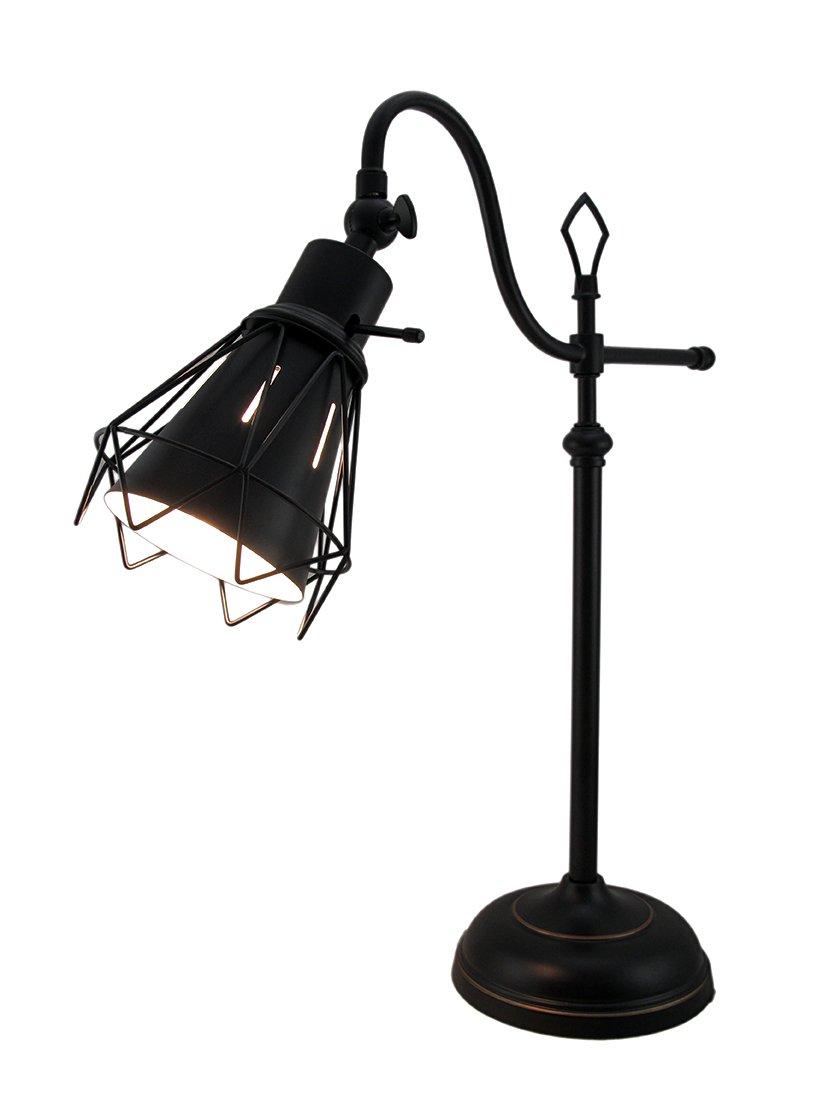 Metal Desk Lamps Wire Cage Downbridge Adjustable Metal Desk Lamp W/Bulb 17 X 22 X 7 Inches Black