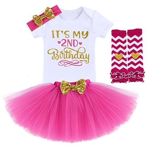 (FYMNSI Newborn Baby Toddler Girls It's My 1st / 2nd Birthday Cake Smash Romper + Tutu Skirt with Bowknot + Headband + Leggings 4 Pcs)