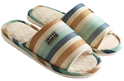 Mens and Womens Contrast Color Stripes Slipper Open Toe Soft House Shoes Green paSxP