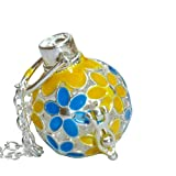 YOur perSOnal STYlish Essential oil necklace Steampunk Blue Yellow flowers d1 0