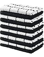 Utopia Towels - Kitchen Towels, 12-Pack - 15 x 25 Inches, Dobby Weave Kitchen Towels - 100% Ring Spun Cotton Super Soft and Absorbent Dish Towels, Tea Towels and Bar Towels (Black)