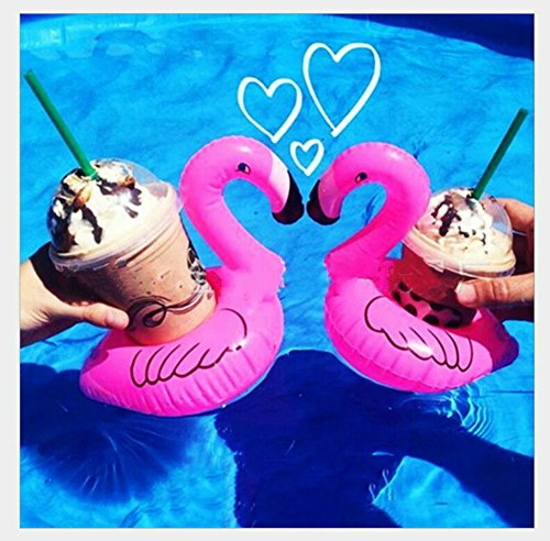Pink Flamingo Inflatable Floating Drink Can Coke Cup Holder Coasters (5 (White Malibu 100 Collection)
