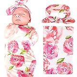 Baby Swaddle Blanket Wraps With Headband, Newborn Receiving Blankets, Pink Flower