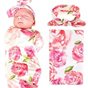 Baby Swaddle Blanket Wraps With Headband, Newborn Receiving Blankets, Pink Flower