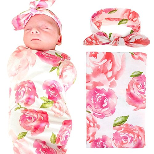 Floral Receiving Blankets (Baby Swaddle Blanket Wraps With Headband, Newborn Receiving Blankets, Pink Flower)