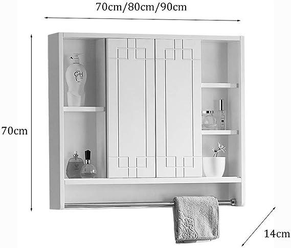 Armarios con espejo Espejo De Baño Gabinete Sólido Ocultos Madera del Espejo del Gabinete Dormitorio con La Luz del Espejo del Gabinete Baño con Estante Espejo Gabinete: Amazon.es: Hogar