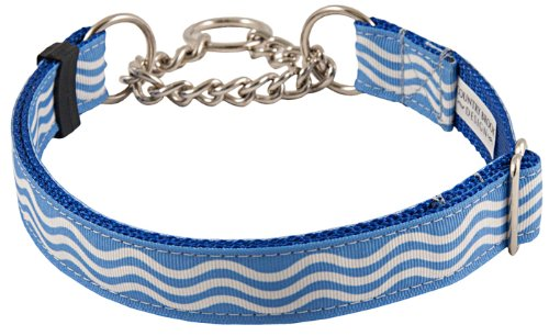 Country Brook Design Blue Wave Grosgrain Ribbon Half Check Dog Collar - Extra Large