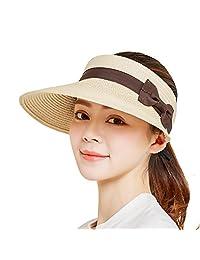 SeDi Women Beach Sun Visor Cap Foldable Roll up Wide Brim Straw Adjustable Hat