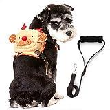 SELMAI Dog Vest Harness Leash Set Plush Backpack for Small Pet Cat Adjustable Collar Zipper Daypack Puppies Saddle Bag Travel Knapsack Soft Mesh Padded with Handle Cute Monkey Cartoon Design Beige S
