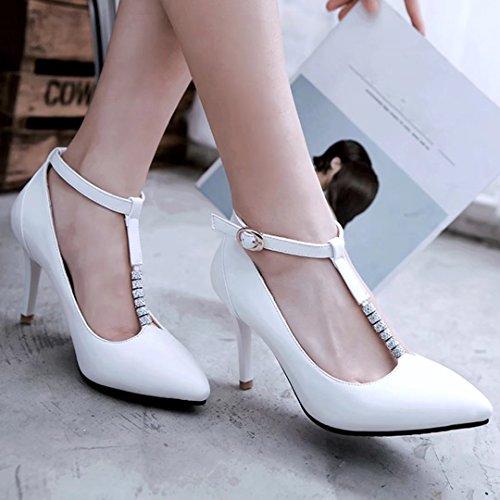 AIYOUMEI Damen Knöchelriemchen Pumps mit Strass und 8cm Absatz Stiletto High Heels T-Spangen Pumps Schuhe Weiß