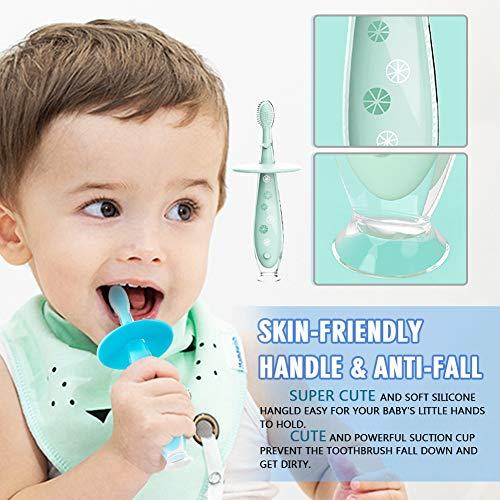51ARmDRe1gL - Baby Toothbrush Silicone Eccomum 2 Pack Infant Training Toothbrush, 100% Food Grade Silicone, Extra Soft/Tough Bristles, BPA/PVC/Phthalate Free, Anti-chocking/Anti-Fall Design, Unisex (2 Pack)