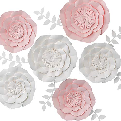 KEY SPRING 3D Paper Flower Decorations, Giant Paper Flowers, Large Handcrafted Paper Flowers (Pink, White Set of 6) for Wedding Backdrop, Bridal Shower, Wedding Centerpieces, Nursery Wall -