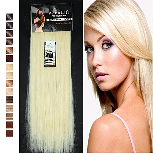 26 Design Set (S-noilite 26 Inches Long Straight Full Head Clip in Synthetic Hair Extensions 8pcs 18 Clips 170g (26