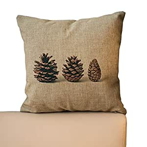 1RHshopstor Retro Pine Cone Pattern Sofa Simple Home Decor Design Throw Pillow Case Decor Cushion Covers Square 18x 18 Inches