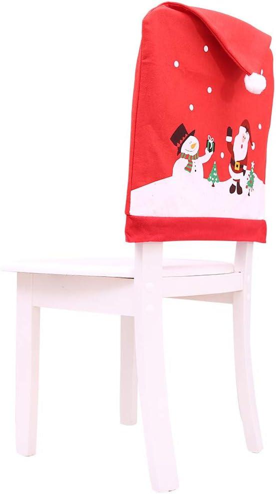 Housse de Chaise de No/ël P/ère Bonhomme de Neige Couverture de Chaise Rouge FENSIN 1//3//6pcs No/ël Housse de Dossier de Chaise D/écoration A