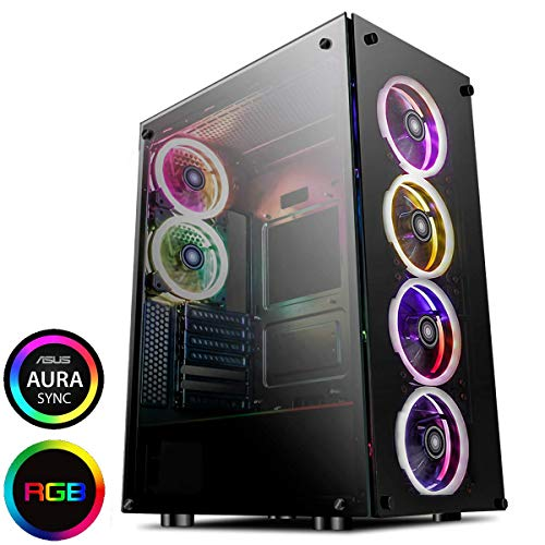 GameMax Predator Full-ATX PC Gaming Case, ARGB, Full Tempered Glass Side Window   Black