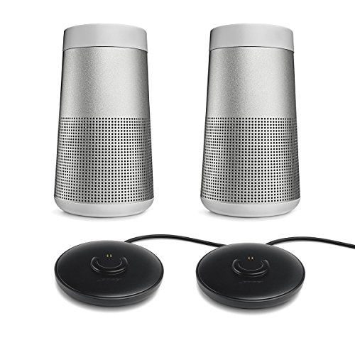 Bose SoundLink Revolve Bluetooth Speaker, Lux Gray - Pair for a True Stereo Sound w/ Charging Cradles - Bundle