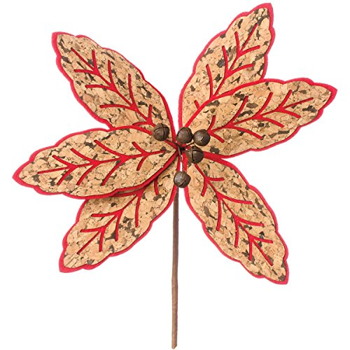 Cork & Felt Poinsettia Pick 12