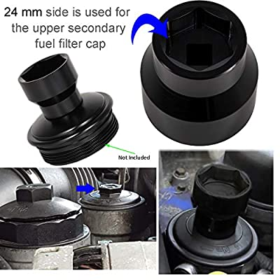 Fuel Filter/Oil Filter Socket 24mm / 36mm Reversible Fuel Filter Cap Remover and Installer Assistant for 2003-2010 6.0L / 6.4L Ford Powerstroke Diesel: Automotive