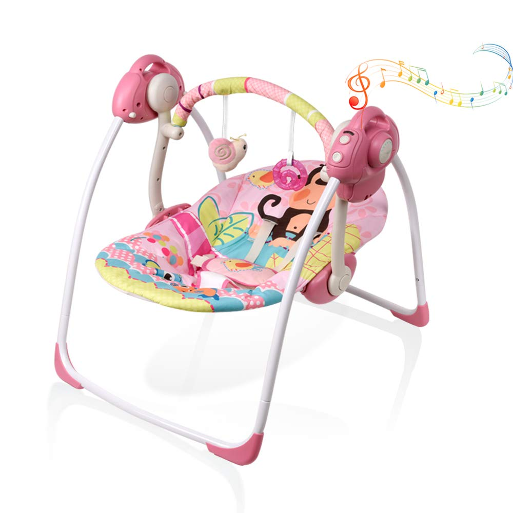 Soothing Portable Swing,Comfort Electric Baby Rocking Chair with Intelligent Music Vibration Box That Can Be Used from The Beginning of The Newborn(Pinkcanvas)