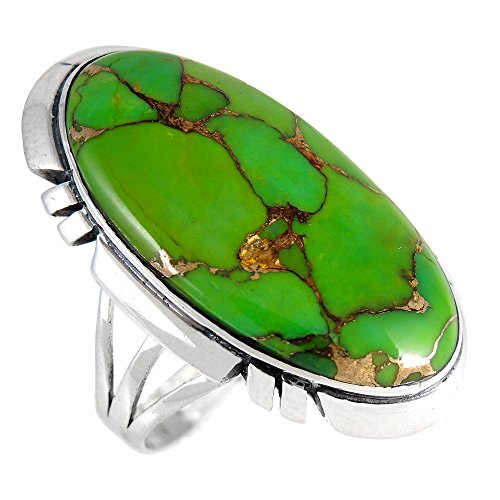 - Sterling Silver 925 Ring with Green Turquoise (SELECT color) (Green Turquoise, 10)