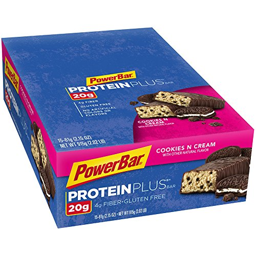 PowerBar  Protein Plus Bars, Cookies and Cream, 20g Protein, 2.15 Ounce Bars (Pack of 15)