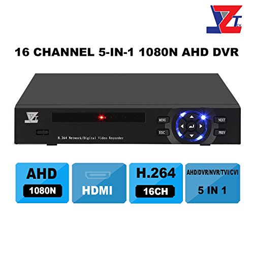 JZTEK 16ch 1080N Hybrid 5-in-1 AHD DVR (1080P NVR+1080N AHD+960H Analog +TVI+CVI) CCTV 16 channel Standalone dvr Quick QR Code Scan w/ Easy Remote View Home Security Surveillance Camera System (Hybrid Analog)