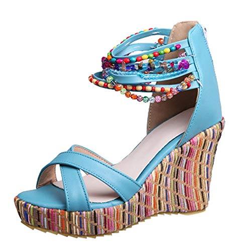 Moda Mano Planas Azul Bohemia Hechas ALIKEEY Cuñas Diadora Zuecos A Calzado HosteleríA Cuentas De Mujer Sandalias AñOs danWnvH