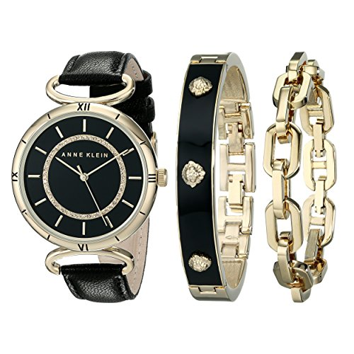 Anne Klein Womens AK1938GBST Gold-Tone Swarovski Crystal-Accented Black Leather Strap Watch and Bracelet Set