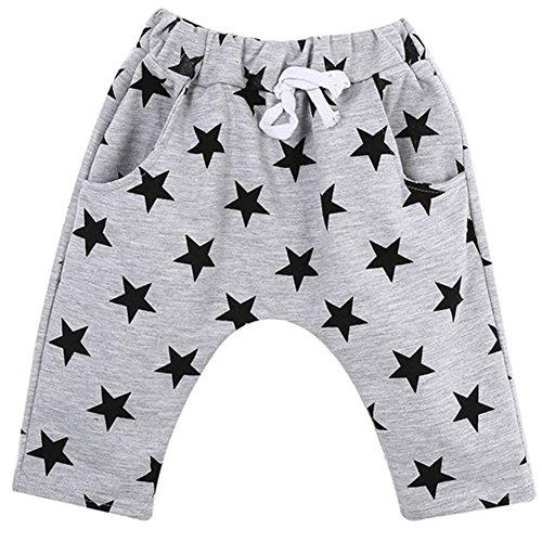 TOOGOO(R) Boy Harem Pants Toddler Boy Cotton Harem Shorts Pants Casual Stars Pattern Trousers Bottoms gray 6-7 Years