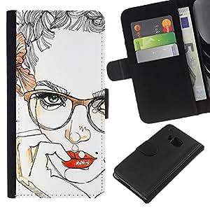 Be-Star la tarjeta de Crédito Slots PU Funda de cuero Monedero caso cubierta de piel Para HTC One M9 ( Lips Glasses Roses Floral Sexy Woman )