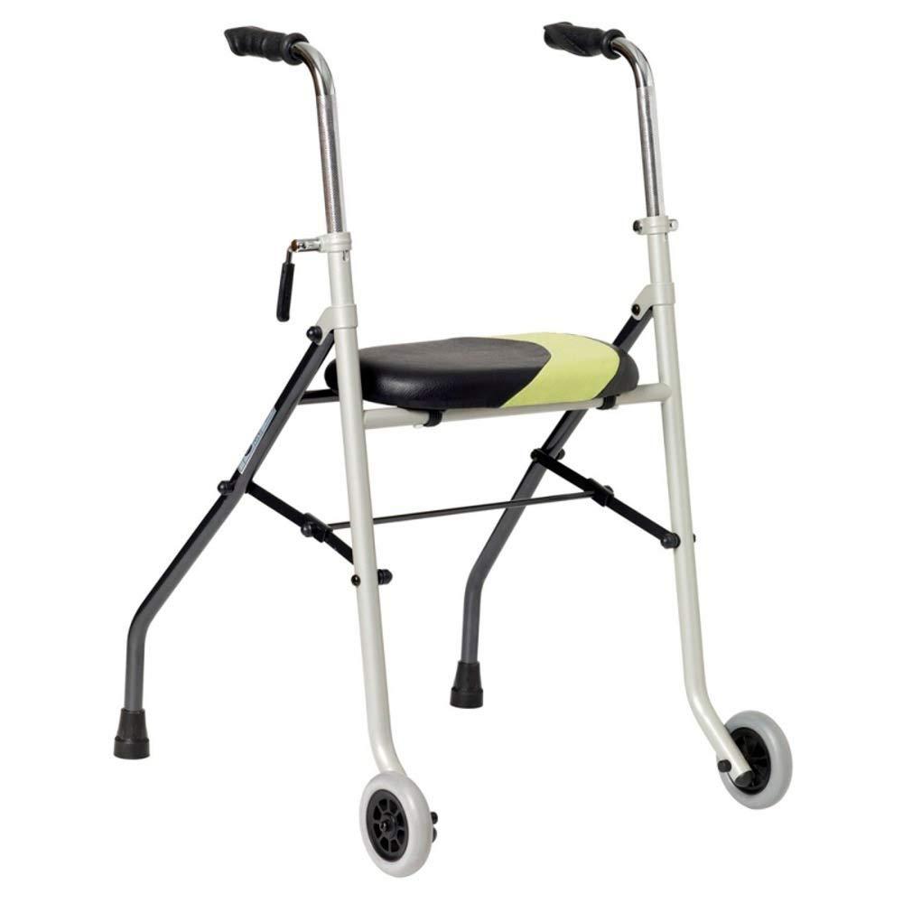 Andador muy ligero| Patas fijas traseras y ruedas delanteras| Forma anatómica, ajustable en altura