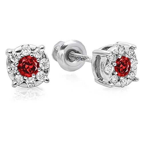 10K White Gold Round Cut Ruby & White Diamond Round Shape Cluster Earrings