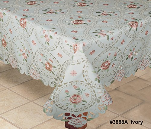Creative Linens Embroidered Pink Rose Daisy Floral Pastel Tablecloth 68x104 Rectangular & 12 Napkins Ivory Spring