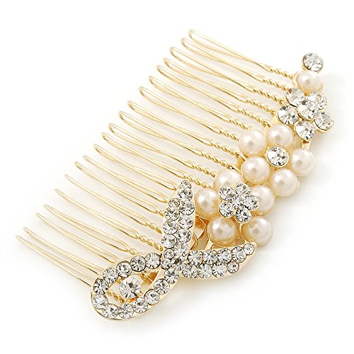 Price comparison product image Bridal/ Wedding/ Prom/ Party Gold Plated Clear Austrian Crystal, Simulated Pearl Floral Hair Comb - 85mm