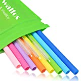 WALFOS Reusable Silicone Straws- Extra Long Flexible Straight Straws for Smoothies/20 & 30 oz Tumblers Yeti/Rtic/Ozark/Trail -(8 Straws + 3 Cleaning Brushes + 1 Storage Pouch)- Food Grade & BPA Free