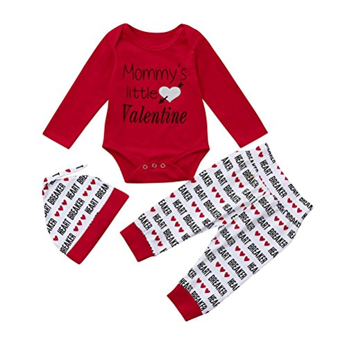 Fineser TM Baby Girl Boy Long Sleeve Valentine's Day Letter Romper+Long Pants+Hat 3pcs Outfits Set (Red, 3M) -