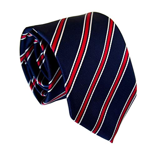 Elfeves Men's Modern Striped Patterned Formal Ties College Daily Woven Neckties (One Size, Navy - Mens Necktie Stripes
