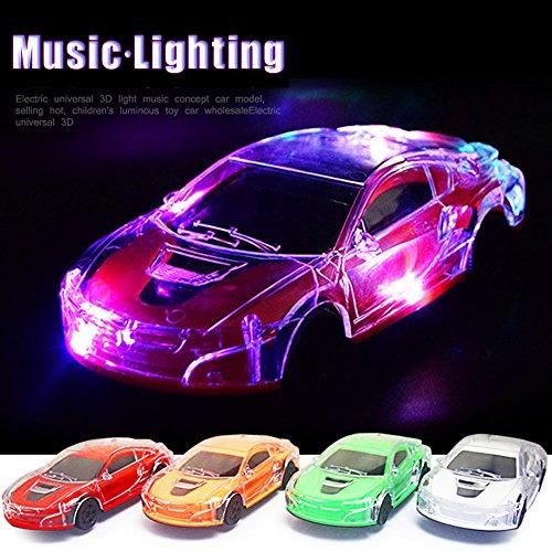 3D Music Lighting Super Car Automatic Steering Flashing Wheel Sound Racing Toy (Random, Music Lighting Car) (Mercedes Benz Truck Center)