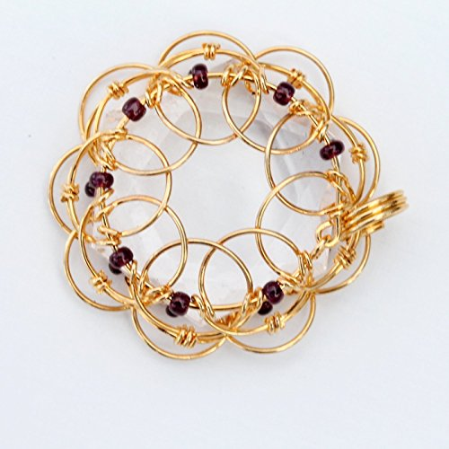 Golden Wire Wrapped Mandala Six Pointed Quartz Crystal Pendant