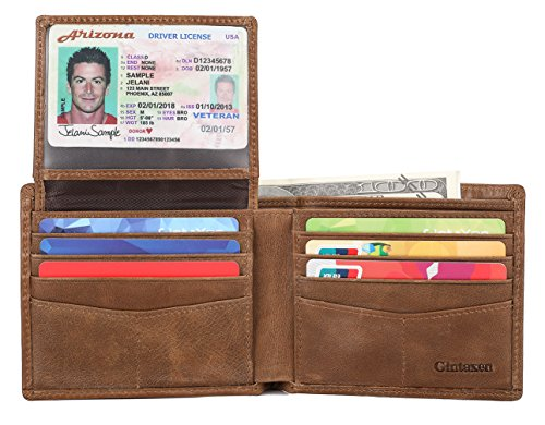 - Mens Genuine Leather Bifold Wallet with 2 ID Window and RFID Blocking - Brown