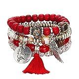 Women Hot Jewelry Multi-Layer Colorful Beads Coin Tassel Bracelets Metal Charm Bracelet Gift for Girls Mens Teens Student Best Friend Forever(C)