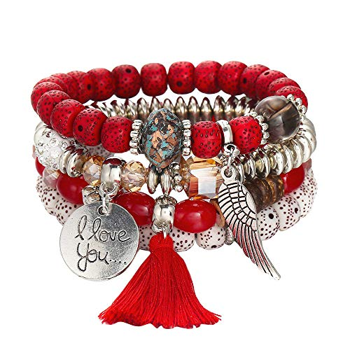 B C Gold Bracelets - Lucky Hot Jewelry Multi-Layer Colorful Beads Coin Tassel Bracelets Metal Bracelet (c)