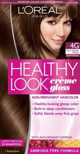 Amazoncom LOreal Paris Healthy Look Creme Gloss Color Dark - Hair colour dark golden brown