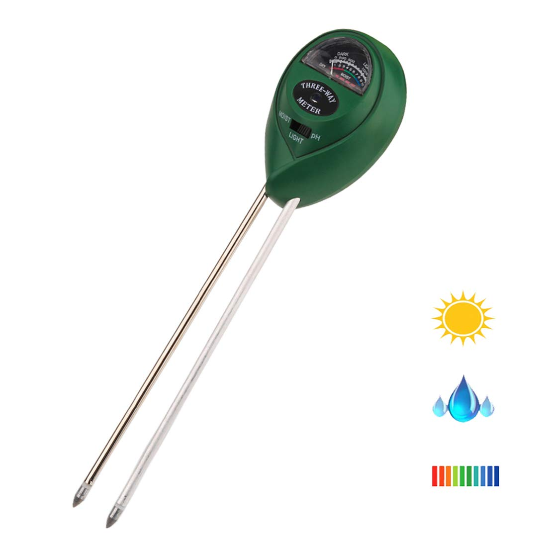 Kihappy Soil pH Meter, 3 in 1 Soil Test Kit for Moisture, Light & pH for Garden, Farm, Lawn, Plants, Herbs and Indoor & Outdoor Plants