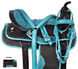 AceRugs Crystal Blue Barrel Racer Western Cordura Light Weight Comfy Horse Saddle Set 14 15 16 (16)