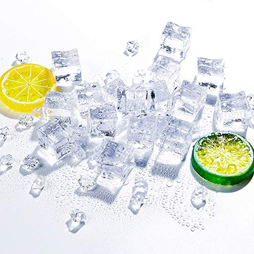 "LoveInUSA Acrylic Ice Cubes Set, 20 PCS 1.2"" Fake Ice Cubes Cubes Square Fake Ice Rock Diamond 6 PCS Fake Lemon Artificial Lemons for Photography Props or decorations"